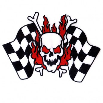 "Back Patch ""Burning Skull with Checkered Flags"""