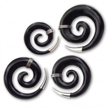 Horn Piercing Spiral Stretcher with Silver Applications – picture 3
