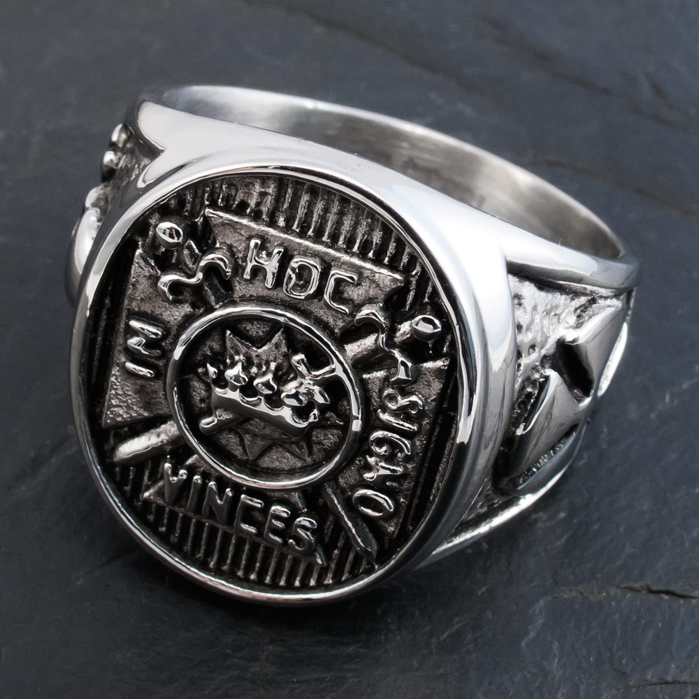Knight 180 S Templar Stainless Steel Signet Ring In Hoc