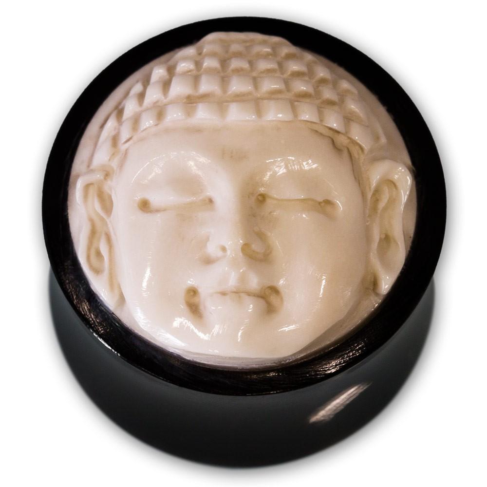 Ohr Plug aus Horn mit geschnitztem Knochen Inlay  Buddha