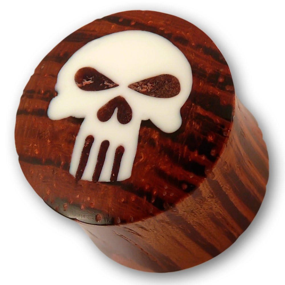 Holz Plug mit Totenkopf Knochen Inlay The Punisher
