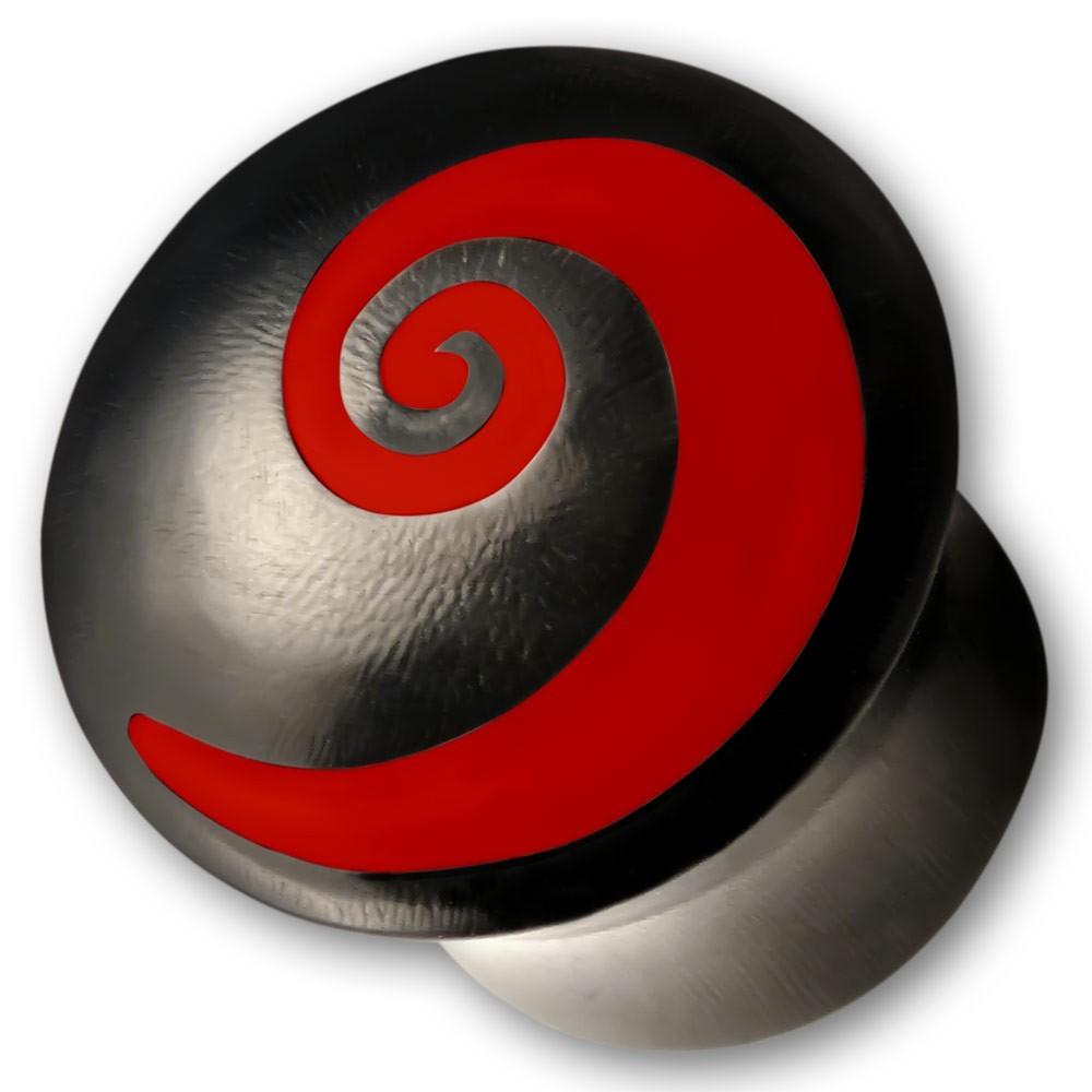 Horn Plug mit Knochen Inlay Spirale in Rot oder Weiss