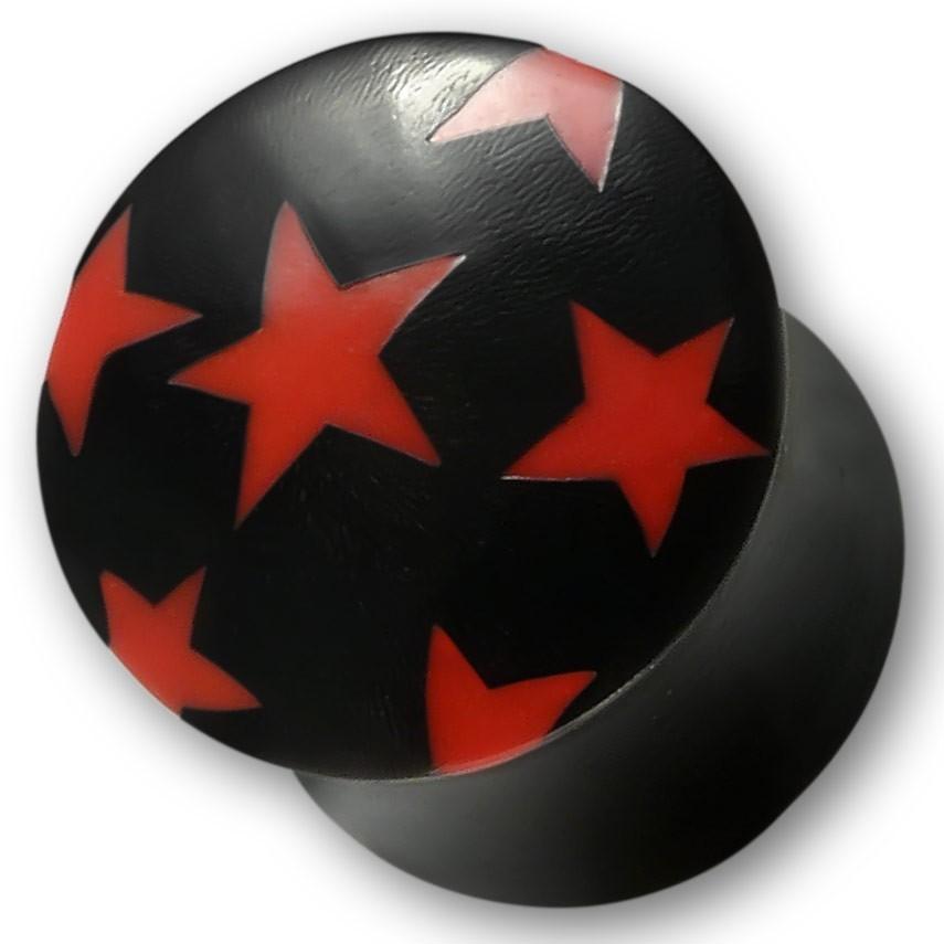 Horn Plug mit Knochen Inlays Rote oder weisse Sterne