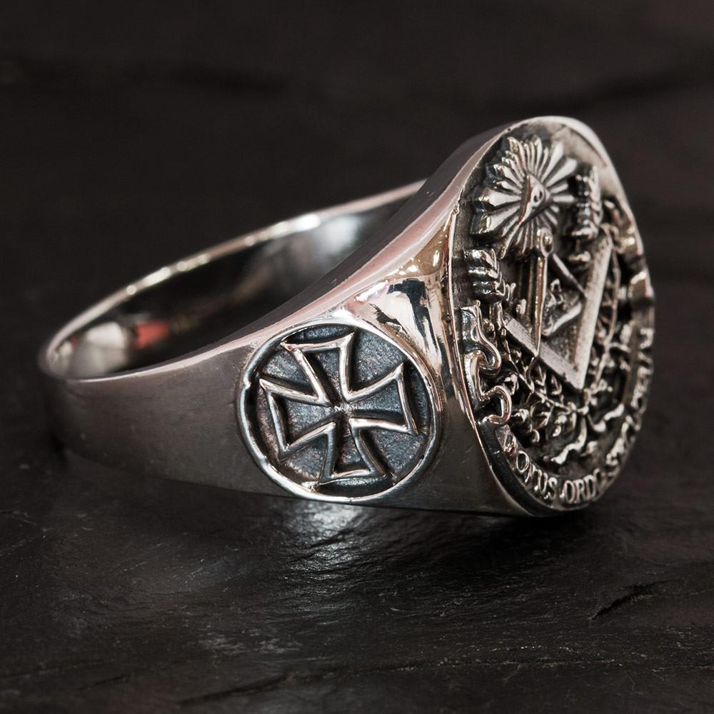 925 Silver Freemason Signet Ring Knights Templar Cross