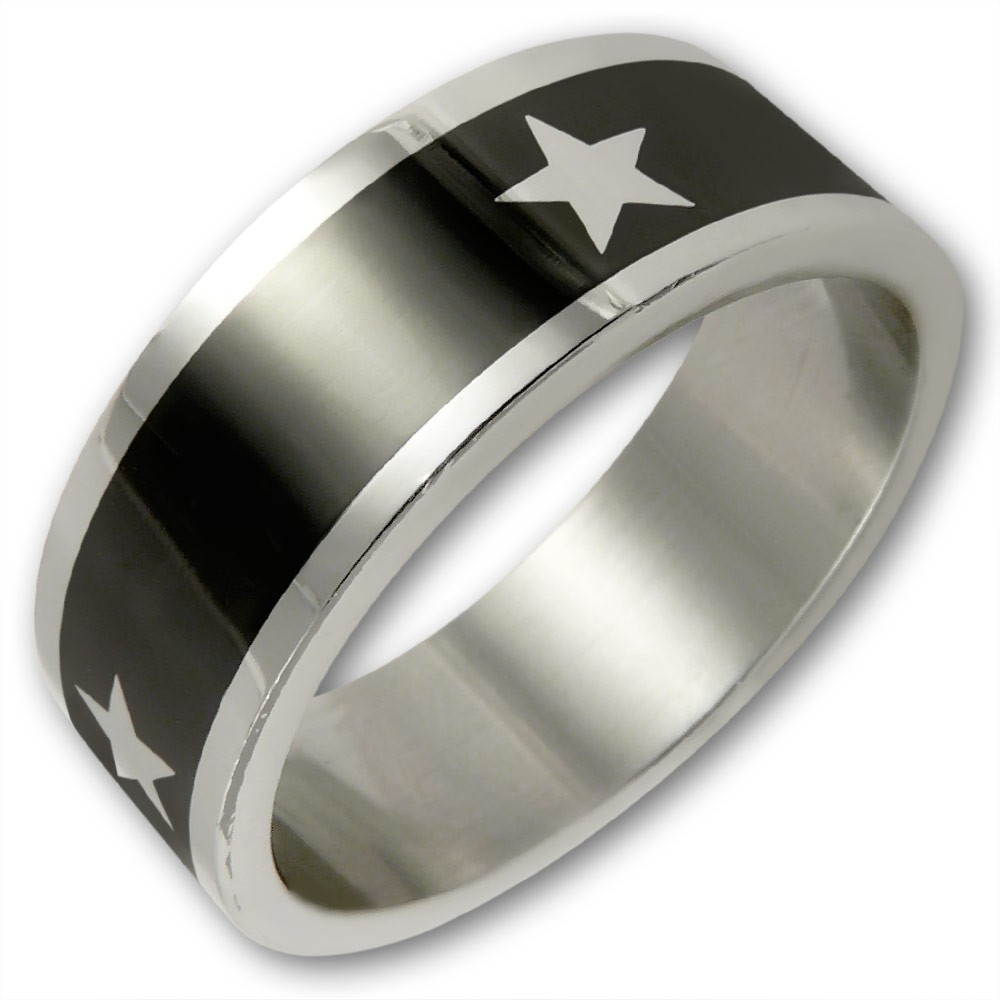 white star ring aus edelstahl modeschmuck im 80er stil. Black Bedroom Furniture Sets. Home Design Ideas