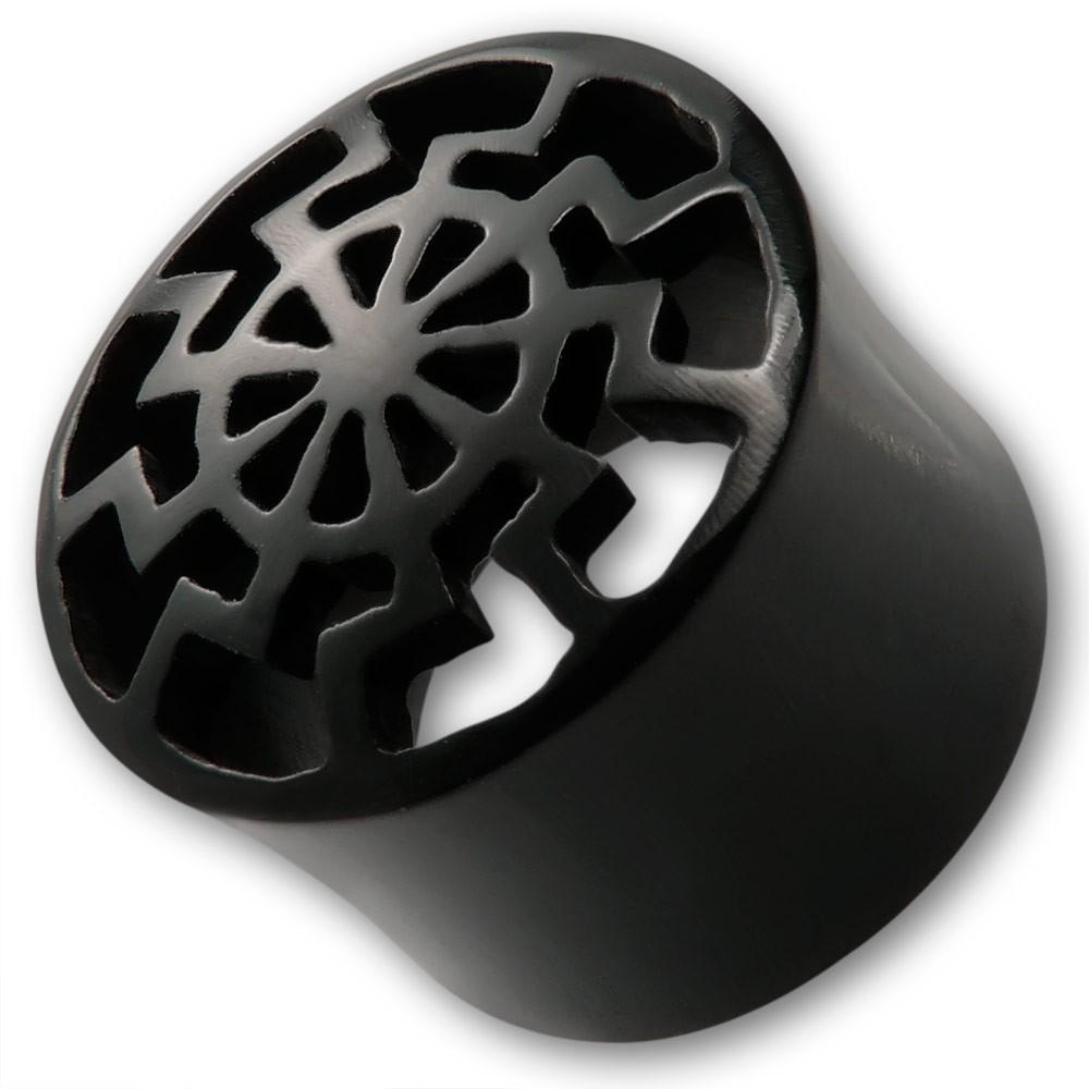 flesh tunnel schwarze sonne aus horn oder holz ohrschmuck. Black Bedroom Furniture Sets. Home Design Ideas